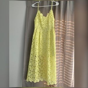 astr the label lace midi dress yellow